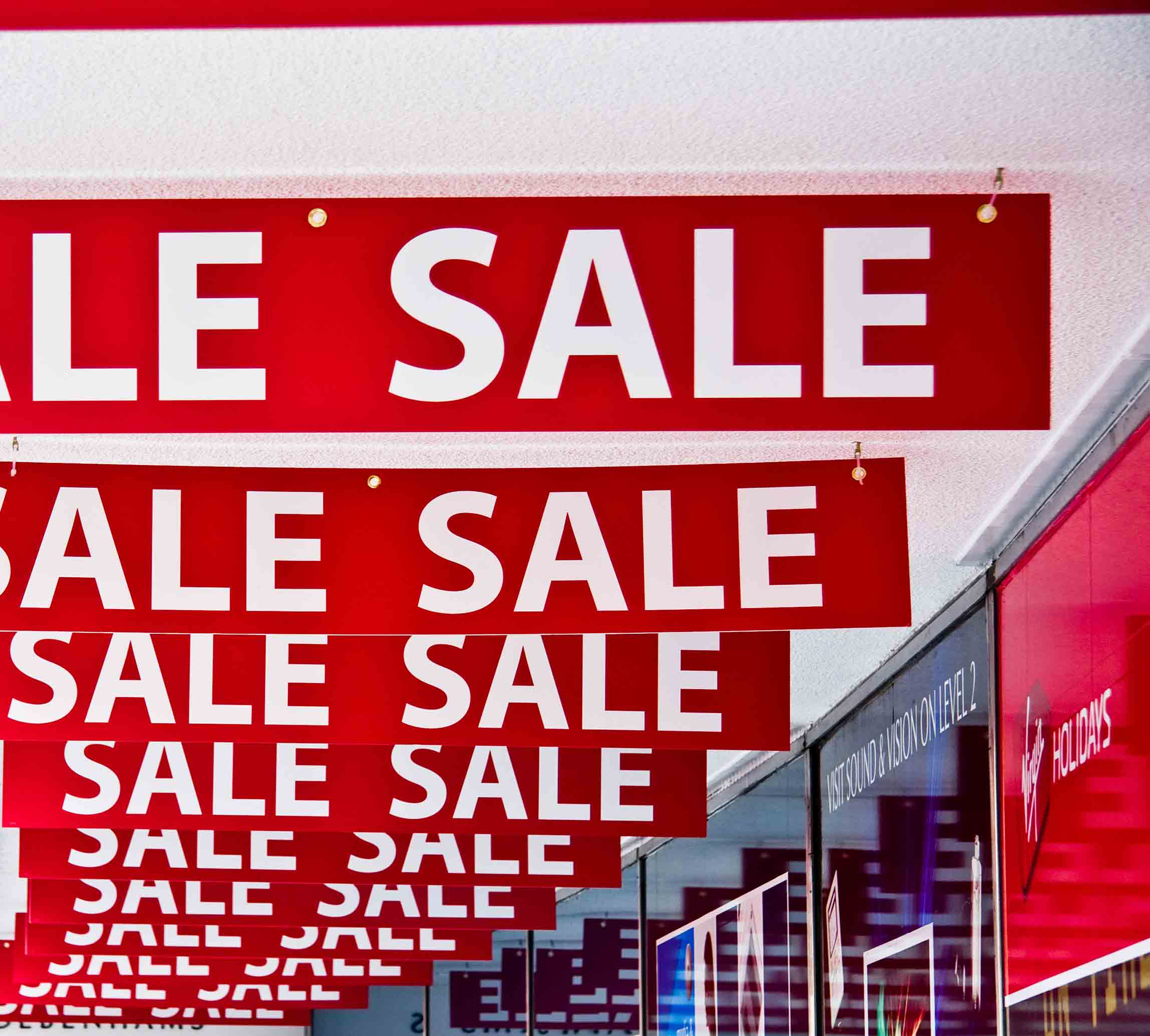 sale signs in mall
