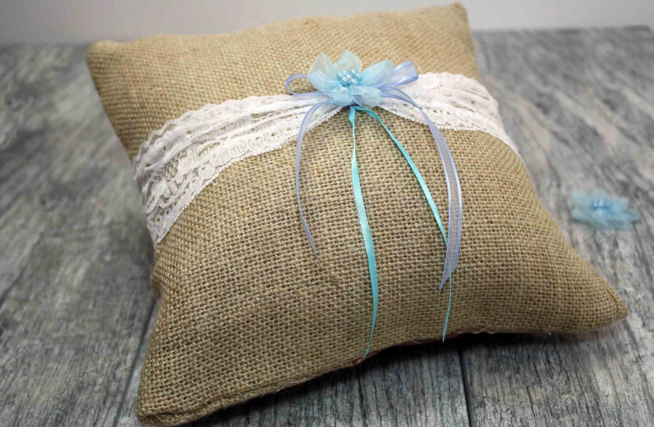 burlap and lace ringbearer pillow